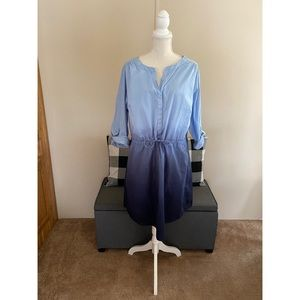 Lane Bryant Blue Ombré Drawstring Waist Dress